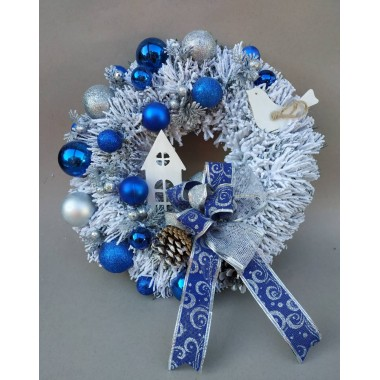 Рождественский новогодний венок Премиум Праздничный Vela Handmade с Натуральным декором 30см. для интерьера, дверей Домик Дизайнерский Синий