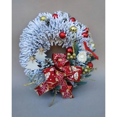 Рождественский новогодний венок Премиум Праздничный Vela Handmade с Натуральным декором 30см. для интерьера, дверей Птичка Дизайнерский Белый