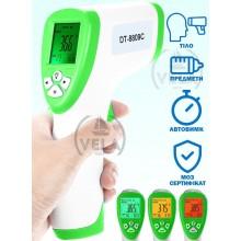 Бесконтактный термометр Сертифицирован DT 8809c Non-contact Pro 32°C ~ 42,5°C  градусник бесконтактный медицинский Инфракрасный для Тела и Поверхностей с русской инструкцией Зеленый