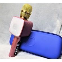 Беспроводной Bluetooth микрофон для караоке в синем чехле DM High Quality L20 Original 4Вт+4Вт с изменением голоса и светомузыкой Rose Gold со сменной батареей