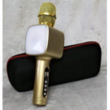 Беспроводной Bluetooth микрофон для караоке + колонка DM High Quality L20 Original 4Вт+4Вт с изменением голоса и светомузыкой в Чехле Gold с дополнительной батареей