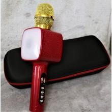 Беспроводной Bluetooth микрофон для караоке + колонка DM High Quality L20 Original 4Вт+4Вт с изменением голоса и светомузыкой в Чехле Red с дополнительной батареей