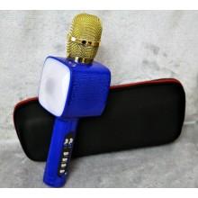 Беспроводной Bluetooth микрофон для караоке + колонка DM High Quality L20 Original 4Вт+4Вт с изменением голоса и светомузыкой в Чехле Blue с дополнительной батареей