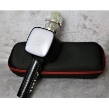 Беспроводной Bluetooth микрофон для караоке + колонка DM High Quality L20 Original 4Вт+4Вт с изменением голоса и светомузыкой в Чехле Black с дополнительной батареей