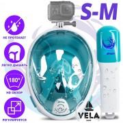Полнолицевая панорамная S/M Снорклинг Маска для плаванья VelaSport 1.0 на все лицо для купания ныряния - Плавательные Очки мономаска на все лицо с трубкой и клапаном с креплением для экшн камеры детские и взрослые White Turqouise
