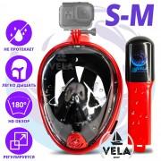Полнолицевая панорамная S/M Снорклинг Маска для плаванья VelaSport 1.0 на все лицо для купания ныряния - Плавательные Очки мономаска на все лицо с трубкой и клапаном с креплением для экшн камеры детские и взрослые Red Black