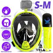 Полнолицевая панорамная S/M Снорклинг Маска для плаванья VelaSport 1.0 на все лицо для купания ныряния - Плавательные Очки мономаска на все лицо с трубкой и клапаном с креплением для экшн камеры детские и взрослые Green Black