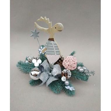 Рождественская новогодняя композиция Праздничная Vela Handmade 30см. с Натуральным декором для интерьера, дверей, стола Лось Дизайнерская Зелёная